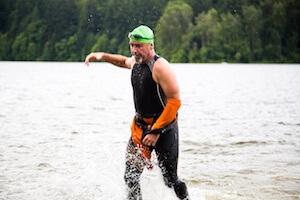 Chris rocks the swim on his way to crushing his goal